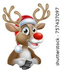 a reindeer christmas cartoon... | Shutterstock .eps vector #757437097