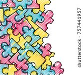 grated puzzle pieces game... | Shutterstock .eps vector #757441957