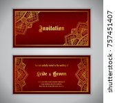 luxury wedding invitation with... | Shutterstock .eps vector #757451407