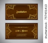 luxury wedding invitation with... | Shutterstock .eps vector #757451413