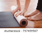 yoga. close up woman folding... | Shutterstock . vector #757459507