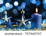 blue christmas decorations in... | Shutterstock . vector #757465747