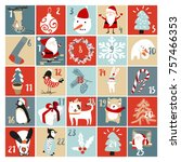 advent calendar vector... | Shutterstock .eps vector #757466353