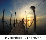 perspective view of old wooden...   Shutterstock . vector #757478947