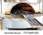 traditional lebanese pizza  | Shutterstock . vector #757489183