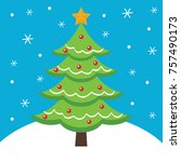 christmas card with tree design | Shutterstock .eps vector #757490173