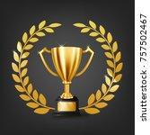 realistic golden trophy with... | Shutterstock . vector #757502467