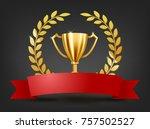 realistic golden trophy with... | Shutterstock . vector #757502527