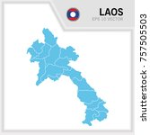 laos map and flag in white... | Shutterstock .eps vector #757505503