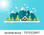 winter lanscape background...   Shutterstock .eps vector #757513597