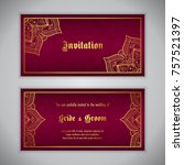 luxury wedding invitation with... | Shutterstock .eps vector #757521397