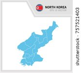 north korea map and flag in... | Shutterstock .eps vector #757521403