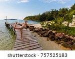 tropical summer yoga session on ... | Shutterstock . vector #757525183