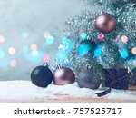 christmas tree background with... | Shutterstock . vector #757525717