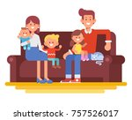 happy family together. mom  dad ... | Shutterstock .eps vector #757526017