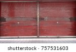 a red blank metal shutter door  ... | Shutterstock . vector #757531603