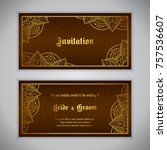 luxury wedding invitation with... | Shutterstock .eps vector #757536607
