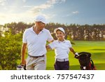 happy man with his son golfers...   Shutterstock . vector #757547437