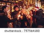 three couple with sparklers... | Shutterstock . vector #757564183