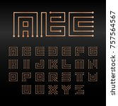 digital maze vector alphabet ... | Shutterstock .eps vector #757564567
