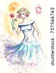 watercolor portrait of... | Shutterstock . vector #757566763