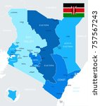 kenya map and flag   high... | Shutterstock .eps vector #757567243