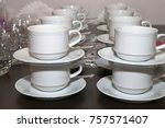coffee cups on the table | Shutterstock . vector #757571407