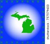map of  michigan | Shutterstock .eps vector #757579603