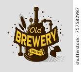 beer logo emblem print design... | Shutterstock .eps vector #757582987