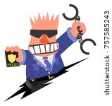 policeman angry arresting... | Shutterstock .eps vector #757585243