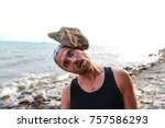man against the sea to cope... | Shutterstock . vector #757586293