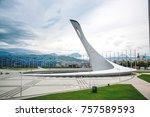 olympic torch in adler  sochi   ... | Shutterstock . vector #757589593