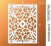 laser cut ornamental panel with ... | Shutterstock .eps vector #757592743
