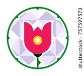 rose flower circle icon logo...