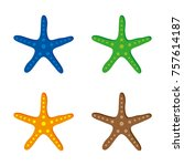 a set of starfish icons in... | Shutterstock .eps vector #757614187