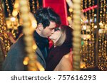 beautiful young couple in love... | Shutterstock . vector #757616293