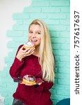 beautiful young woman enjoying...   Shutterstock . vector #757617637