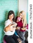 two beautiful young women...   Shutterstock . vector #757617643