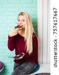 beautiful young woman enjoying...   Shutterstock . vector #757617667