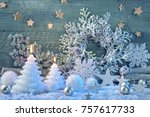 burning candles and christmas... | Shutterstock . vector #757617733
