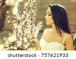 spring fashion girl outdoors...   Shutterstock . vector #757621933