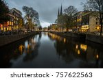 amsterdam canals by night. | Shutterstock . vector #757622563