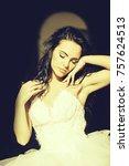 sensual bride pretty brunette...   Shutterstock . vector #757624513