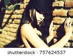 young beautiful woman in...   Shutterstock . vector #757624537