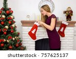 beautiful young woman holding...   Shutterstock . vector #757625137