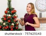 beautiful young woman...   Shutterstock . vector #757625143