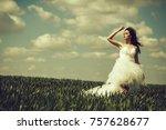 young wedding sexy girl woman...   Shutterstock . vector #757628677