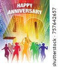 fortieth anniversary. colorful... | Shutterstock .eps vector #757642657