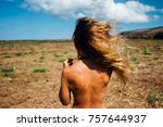 back of beautiful woman on the...   Shutterstock . vector #757644937