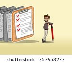 hipster businessman leaning a... | Shutterstock .eps vector #757653277